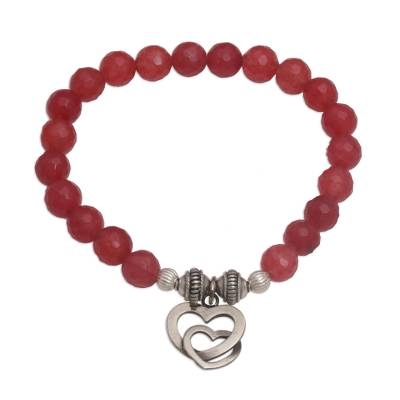 Rosy Agate and Heart Charm Beaded Bracelet from Bali