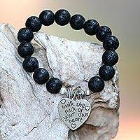Lava stone beaded stretch bracelet, 'Path of Love' - Sterling Silver Heart Charm Beaded Bracelet from Bali