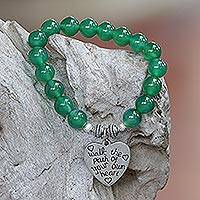 Agate beaded stretch bracelet, 'Path of Love' - Green Agate and Heart Charm Beaded Bracelet from Bali