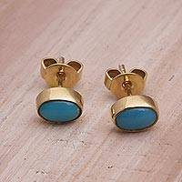 Gold plated sterling silver stud earrings, 'Refreshing Pools' - Gold Plated Sterling Silver and Turquoise Stud Earrings