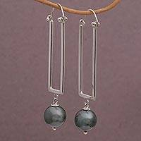 Cultured pearl dangle earrings, 'Modern Sphere' - Hand Crafted Cultured Grey Pearl Dangle Earrings from Bali