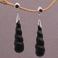 Wood and garnet dangle earrings, 'Midnight Cocoon' - Indonesian Handmade Arang Wood and Garnet Dangle Earrings