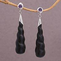 Wood and amethyst dangle earrings, 'Midnight Cocoon' - Hand Made Arang Wood and Amethyst Dangle Earrings from Bali