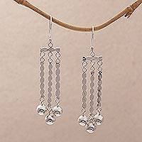 Sterling silver chandelier earrings, 'Ballroom Candles' - Sterling Silver Bauble Dangle Earrings from Bali