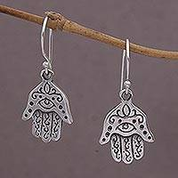 Sterling silver dangle earrings, 'Hamsa Eyes' - Sterling Silver Hamsa Dangle Earrings from Bali