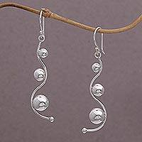 Sterling silver dangle earrings, 'Vines of Life' - Sterling Silver Abstract Dangle Earrings from Bali
