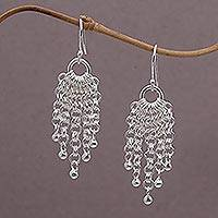 Sterling silver waterfall earrings, 'Bubble Cascade' - Sterling Silver Chain Waterfall Earrings from Bali