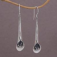 Sterling silver dangle earrings, 'Pendulous Flowers' - Sterling Silver Floral Dangle Earrings from Bali