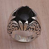 Onyx single stone ring, 'Soaring Hope' - Onyx and Sterling Silver Single Stone Ring from Bali
