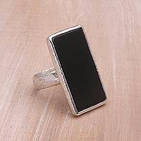 Onyx cocktail ring, 'Dark Reflection' - Handmade Sterling Silver and Onyx Ring from Indonesia