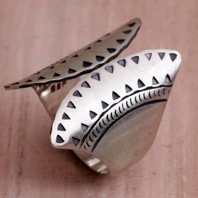 Sterling Silver Fan-Shaped Wrap Ring from Bali