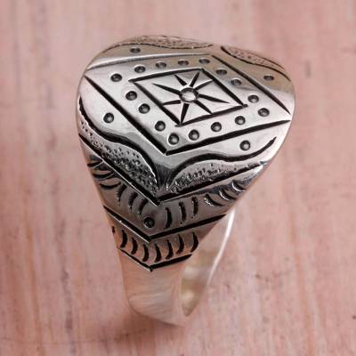 Sterling silver band ring, Eye of the Horizon