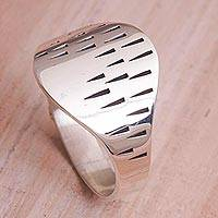 Sterling silver band ring, 'Imprint' - Sterling Silver Imprinted Band Ring from Bali