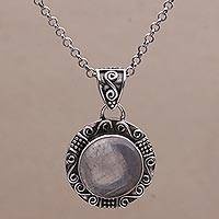 Rainbow moonstone pendant necklace, 'Temple Mirror'