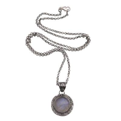 Rainbow moonstone pendant necklace, 'Temple Mirror' - Rainbow Moonstone and Sterling Silver Necklace from Bali