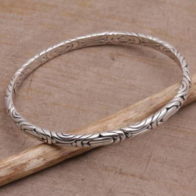 Sterling silver bangle bracelet, 'Be in Motion' - Artisan Crafted 925 Sterling Silver Balinese Bangle Bracelet