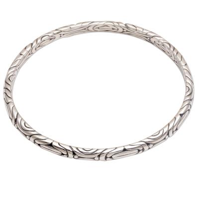 Sterling silver bangle bracelet, 'Be in Motion' - Artisan Crafted 925 Sterling Silver Balinese Bangle Bracelet