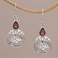 Garnet dangle earrings, 'Peach Tree' - Handmade Sterling Silver Peach Tree Earrings with Garnet