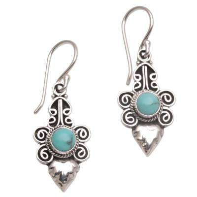 Turquoise and Sterling Silver Dangle Earrings from Bali