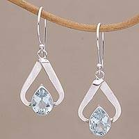 Blue topaz dangle earrings, 'Beribboned in Blue' - Blue Topaz and Sterling Silver Dangle Earrings from Bali