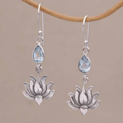 Blue topaz flower dangle earrings, 'Sacred Bloom' - 925 Silver Lotus Hook Earrings with Blue Topaz from Bali