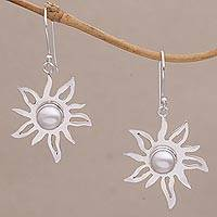 Cultured pearl dangle earrings, 'Sunlight Gleam' - Pearl and Sterling Silver Sun Earrings Hand Crafted in Bali
