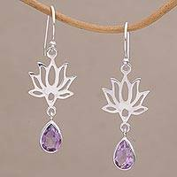 Amethyst flower dangle earrings, 'Lotus Dream' - 925 Sterling Silver Amethyst Lotus Flower Artisan Earrings