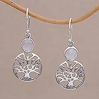Rainbow moonstone dangle earrings, 'Misty Branches' - Rainbow Moonstone Tree Dangle Earrings from Bali