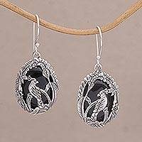 Onyx dangle earrings, 'Cockatoo Garden' - Onyx and Sterling Silver Cockatoo Dangle Earrings from Bali