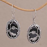 Onyx dangle earrings, 'Avian Curiosity' - Onyx and 925 Silver Bird-Themed Dangle Earrings from Bali