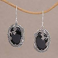 Onyx dangle earrings, 'Dreamy Forest' - Onyx and Sterling Silver Floral Dangle Earrings from Bali