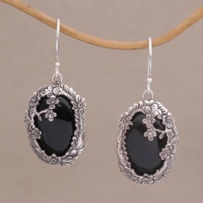 36c88cb21 Onyx dangle earrings, 'Dreamy Forest' - Onyx and Sterling Silver Floral  Dangle Earrings