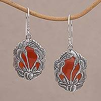 Carnelian dangle earrings, 'Floral Plains' - Carnelian and 925 Silver Floral Dangle Earrings from Bali