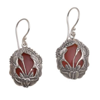 Carnelian and 925 Silver Floral Dangle Earrings from Bali