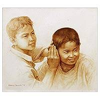 'Filter' (2015) - Original Oil Portrait of Two Mischievous Boys from Bali