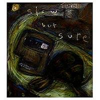 'Slow But Sure' - Signed Modern Inspirational Turtle Man Painting from Bali