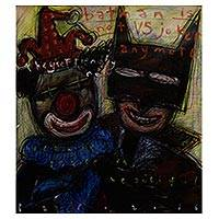 'Batman is not VS Joker Any More' - Signed Batman and Joker Modern Painting from Bali
