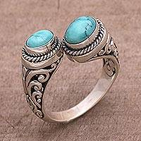 Turquoise wrap ring, 'Garden Gaze' - 925 Sterling Silver Wrap Ring with Natural Turquoise