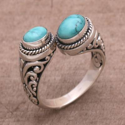 mens long silver necklace - 925 Sterling Silver Wrap Ring with Natural Turquoise