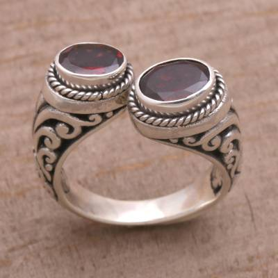 sterling silver ring necklace name - Garnet and Sterling Silver Wrap Ring from Bali