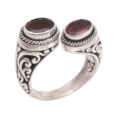 Garnet wrap ring, 'Garden Gaze' - Garnet and Sterling Silver Wrap Ring from Bali