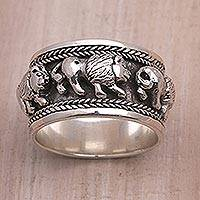 Sterling silver band ring, 'Lion Parade' - Sterling Silver Lion Motif Band Ring from Bali