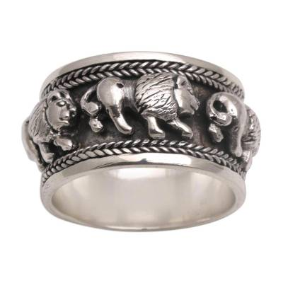 Sterling Silver Lion Motif Band Ring from Bali
