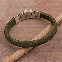 Leather wristband bracelet, 'Shrine Weave in Green' - Green Leather Braided Wristband Bracelet from Bali