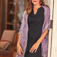 Batik silk shawl, 'Forest Waves in Iris'