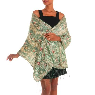Batik silk shawl, 'Forest Waves in Moss Green' - Batik Silk Shawl with Moss Green Floral Motifs from Bali