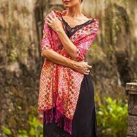 Batik silk shawl, 'Kawung Plains in Fuchsia' - Batik Silk Shawl with Fuchsia Floral Motifs from Bali