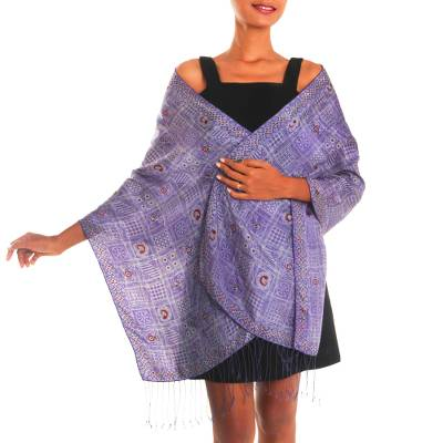 Batik silk shawl, 'Ceplok Temple in Iris' - Handcrafted Fringed Batik Silk Shawl in Iris from Bali
