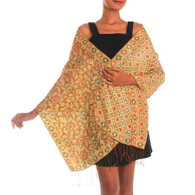 Batik silk shawl, 'Truntum Forest in Ginger' - Batik Silk Shawl with Ginger Floral Motifs from Bali