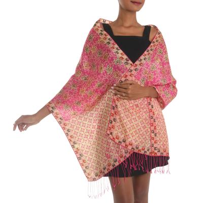 Batik silk shawl, 'Kawung Azaleas in Fuchsia' - Batik Silk Shawl with Fuchsia Floral Motifs from Bali